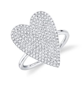 14K W/G Diamond Pave Heart Ring