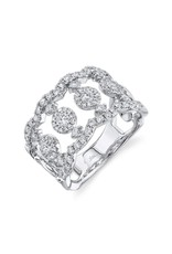 14K White Gold Antique Inspired Diamond Fashion Ring, D: 0.99ct