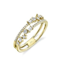 14K Y/G Double Stacked Diamond Ring