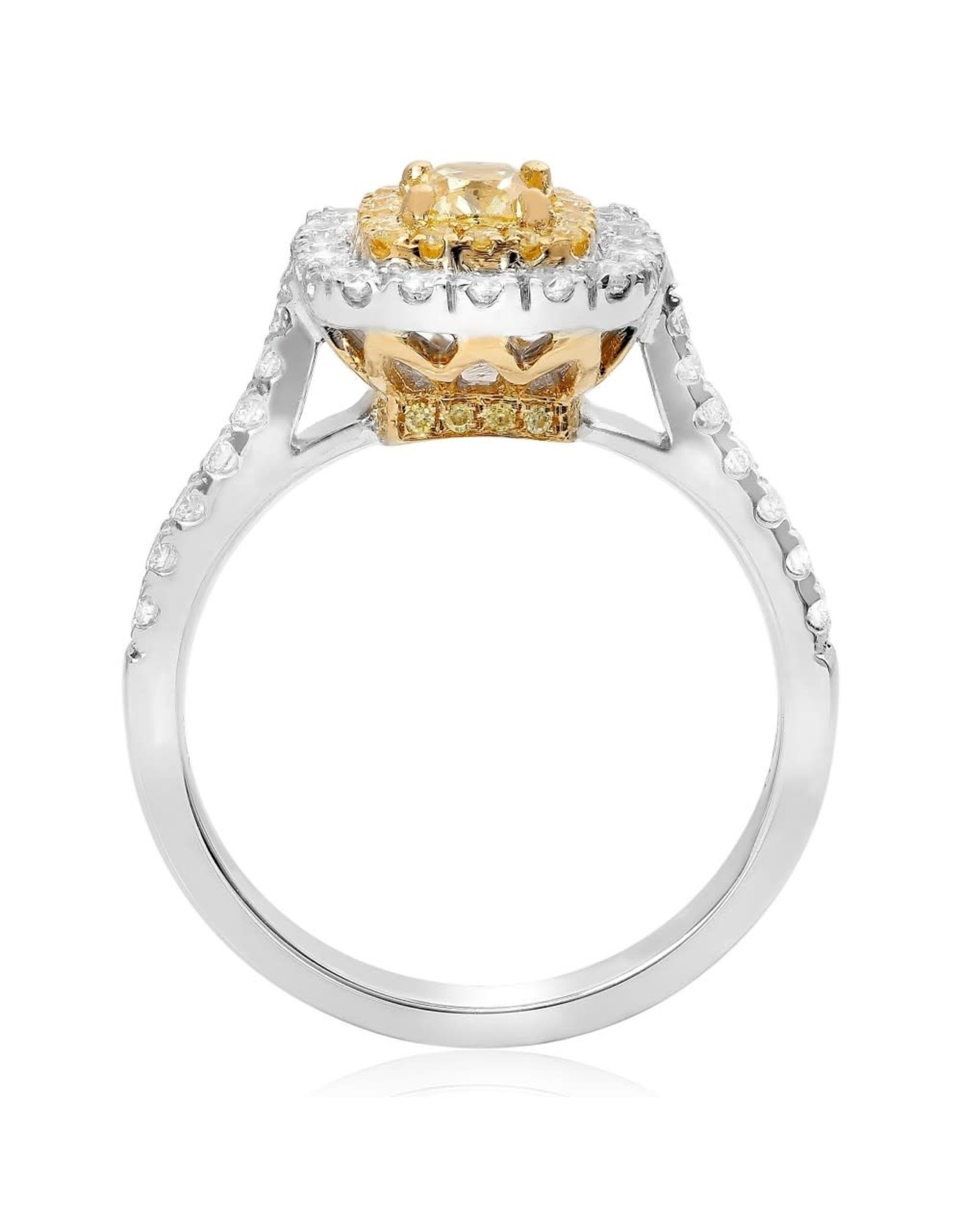 18K White Gold Fancy Yellow Diamond Engagement Ring, YCD: 0.47ct, RD: 0.61ct