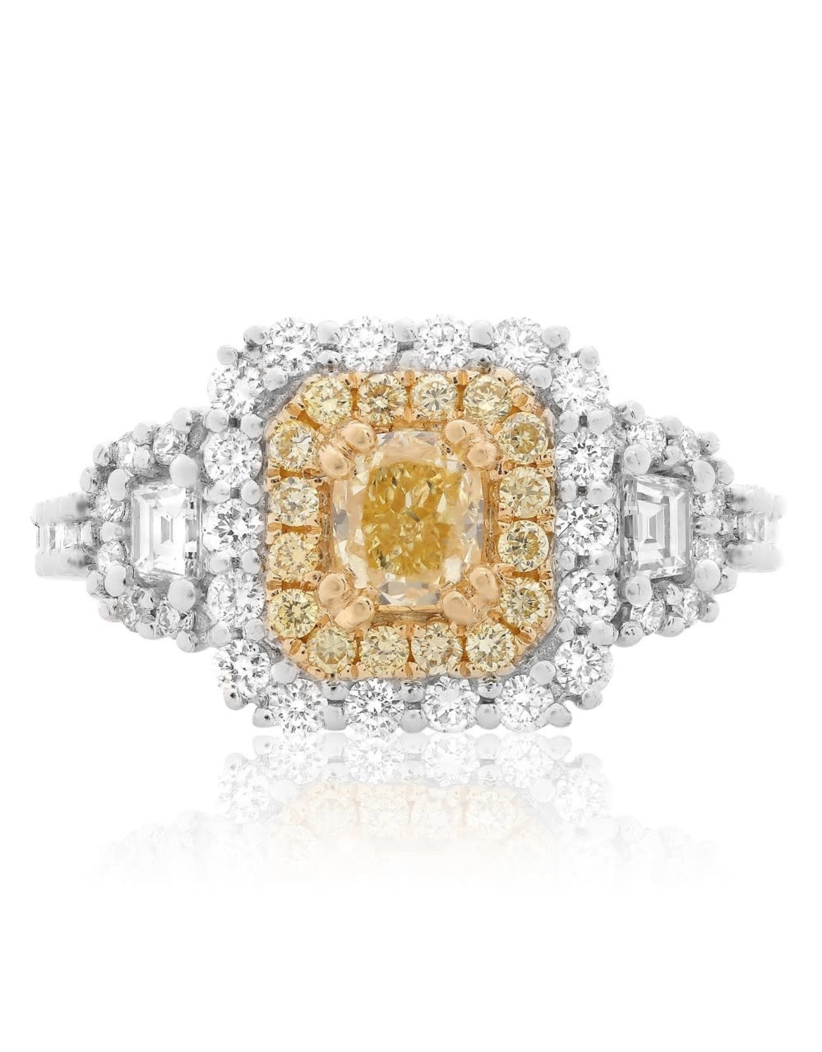 18K White Gold Fancy Yellow Diamond  Engagement Ring, YDC: 0.63ct, D: 1.26ct