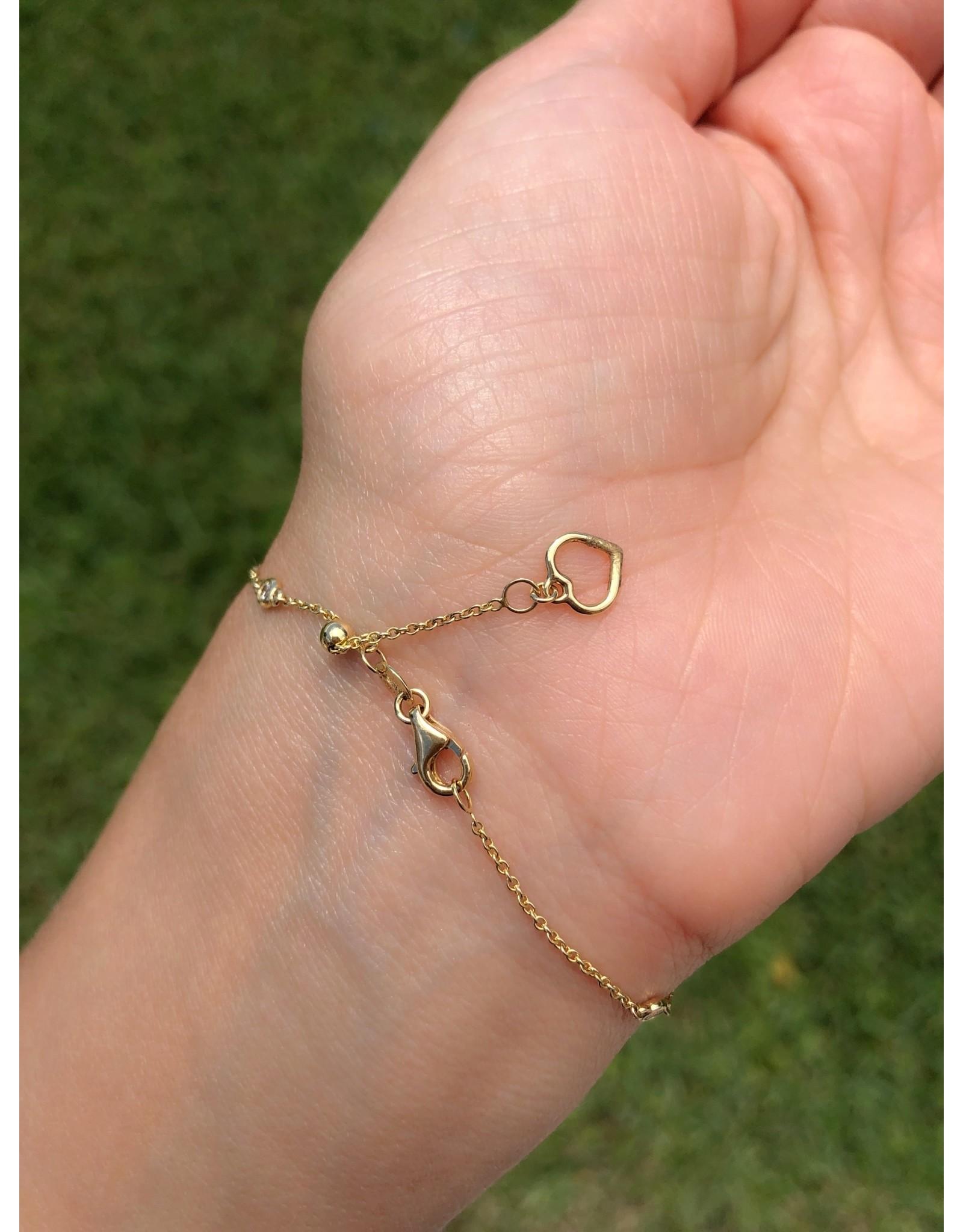 14K Yellow Gold Adjustable Diamond Circle Bracelet, Adj length, D: 0.30ct