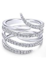 14K White Gold Diamond Wrap Ring, D: 0.75ct