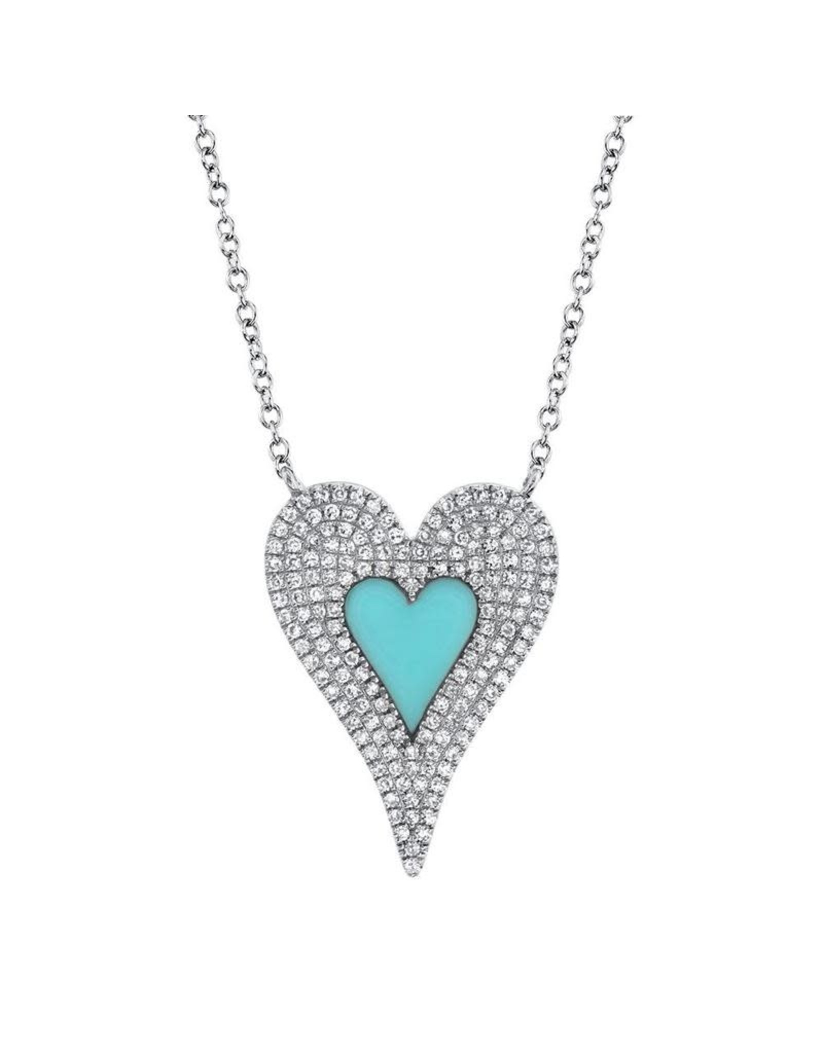 14K White Gold Turquoise and Pave Diamond Heart Necklace, TQ: 0.46ct, D: 0.38ct