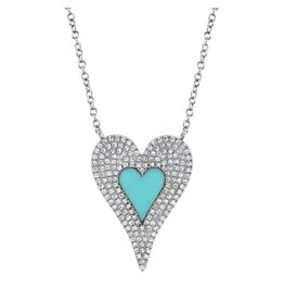 14K W/G Turquoise & Pave Diamond Heart Necklace