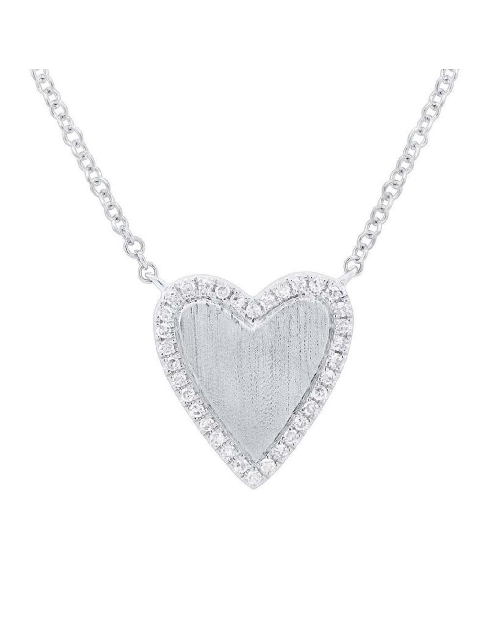 14K White Gold Diamond Matte Heart Necklace, D: 0.09ct