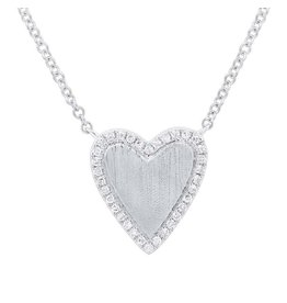 14K W/G Diamond Matte Heart Necklace