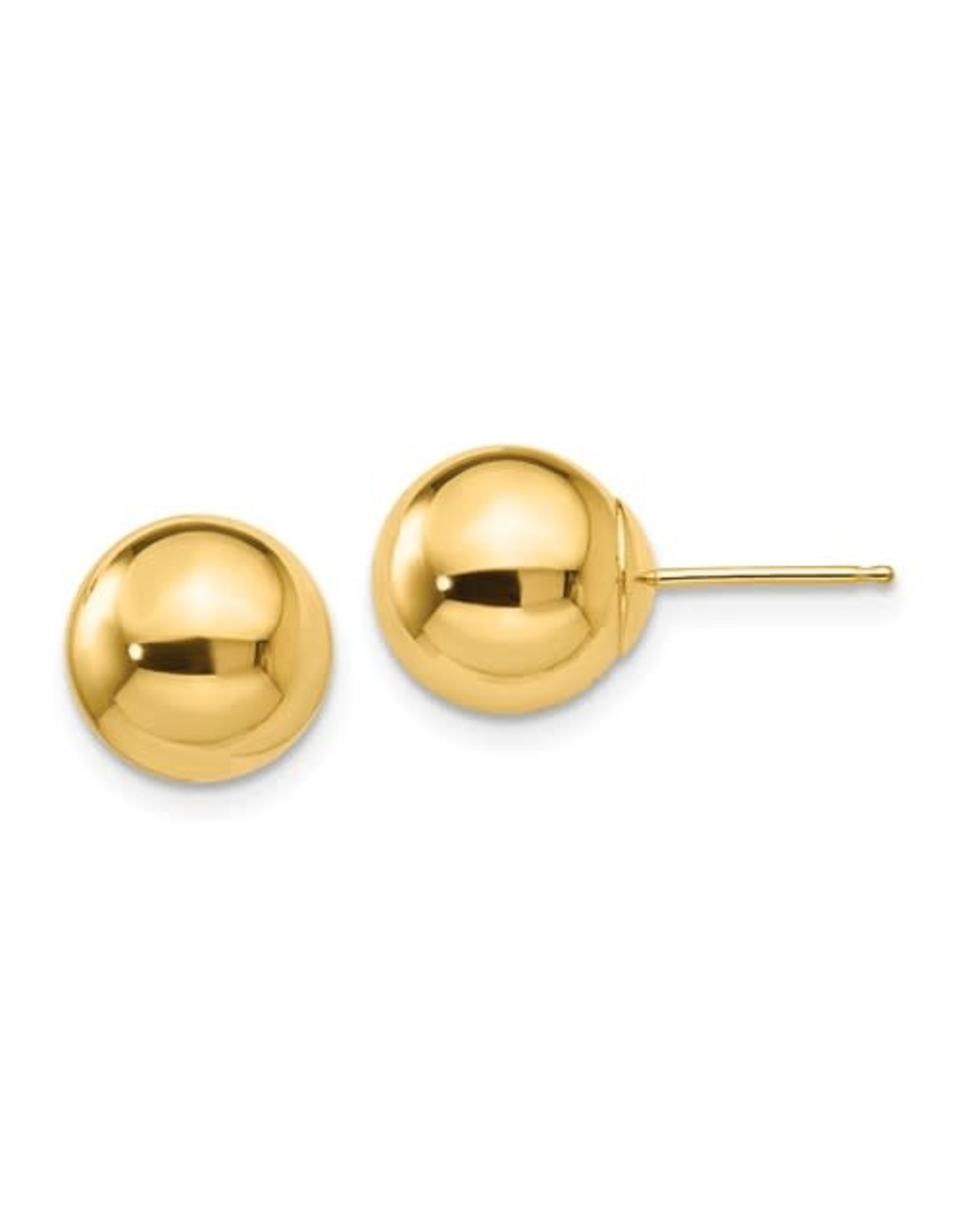 14K Yellow Gold 9mm Ball Stud Earrings with Friction Back