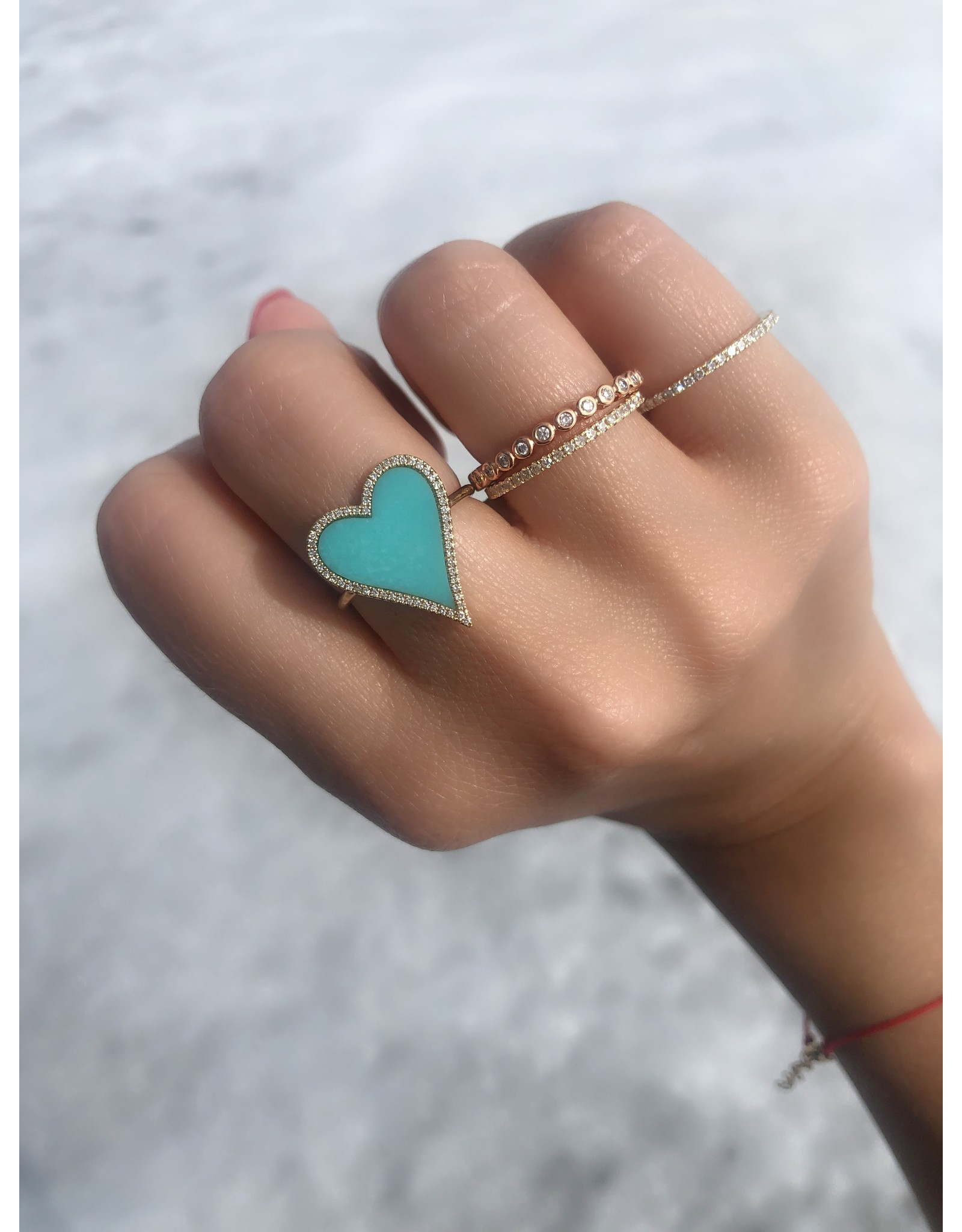 14K Yellow Gold Turquoise and Diamond Heart Ring, TQ: 1.80ct, D: 0.13ct