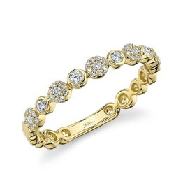 14K Y/G Pave Diamond Stackable Ring