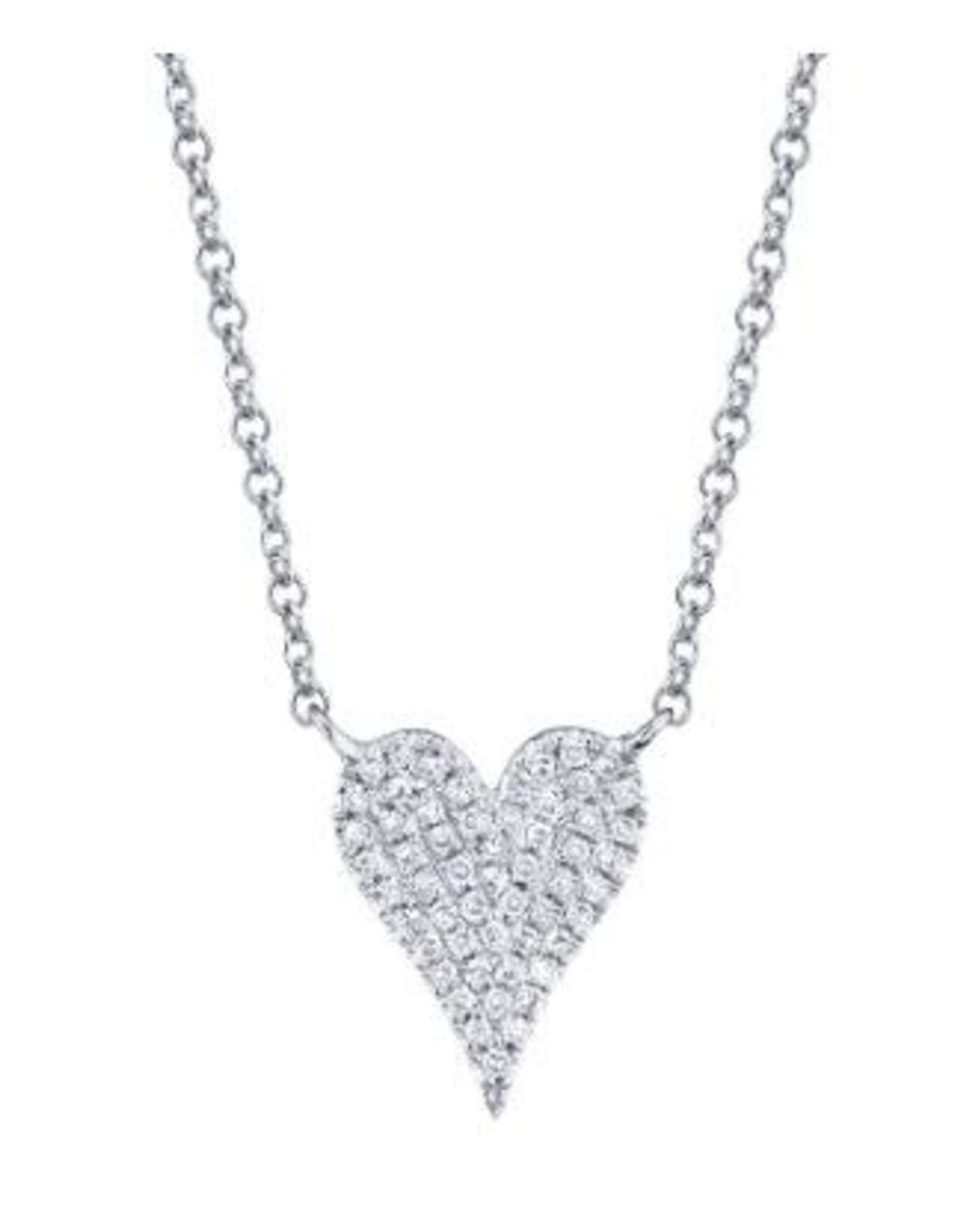 14K W/G Petite Diamond Heart, D: 0.11ct