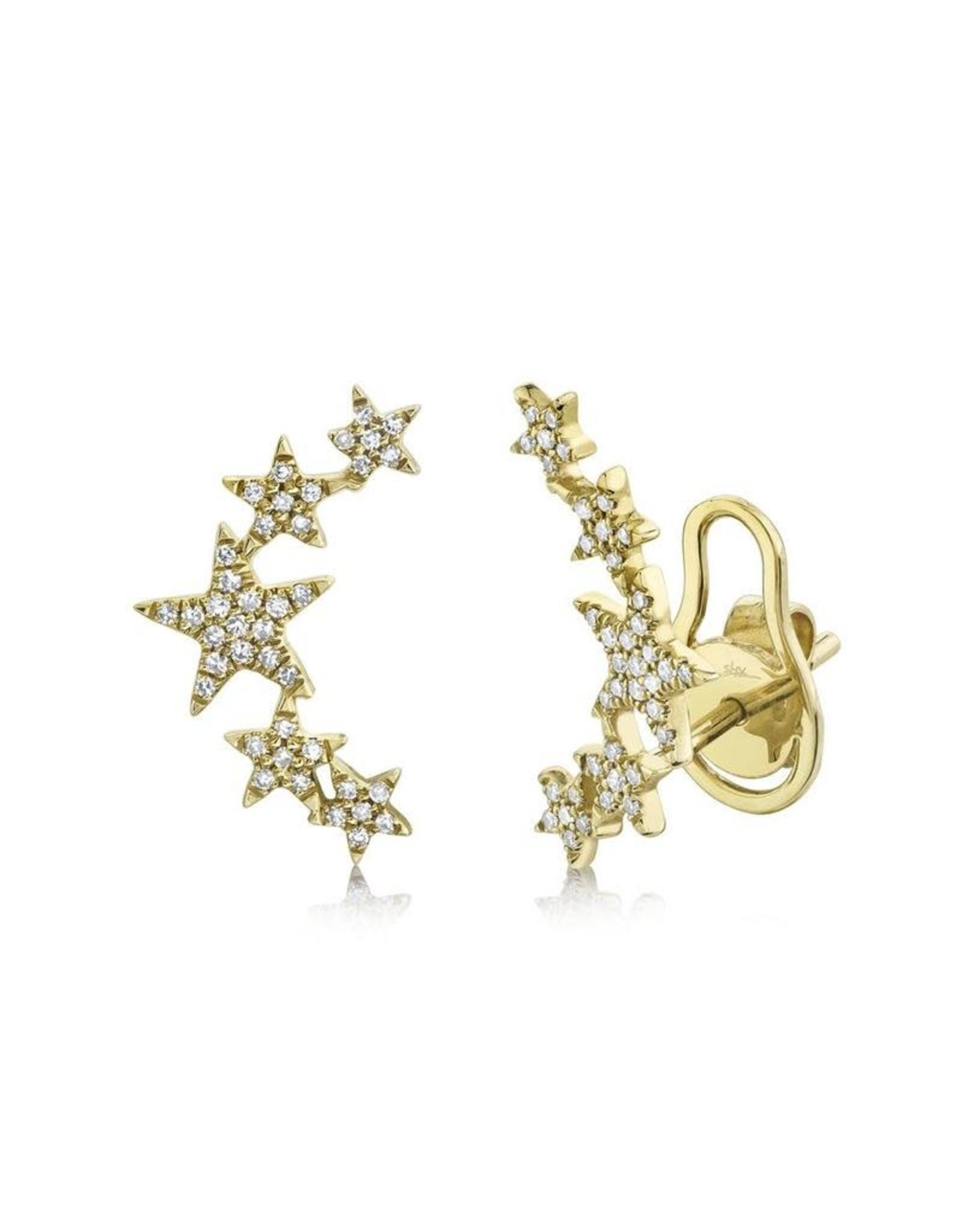 14K Yellow Gold Diamond Star Earring Climbers, D: 0.17ct