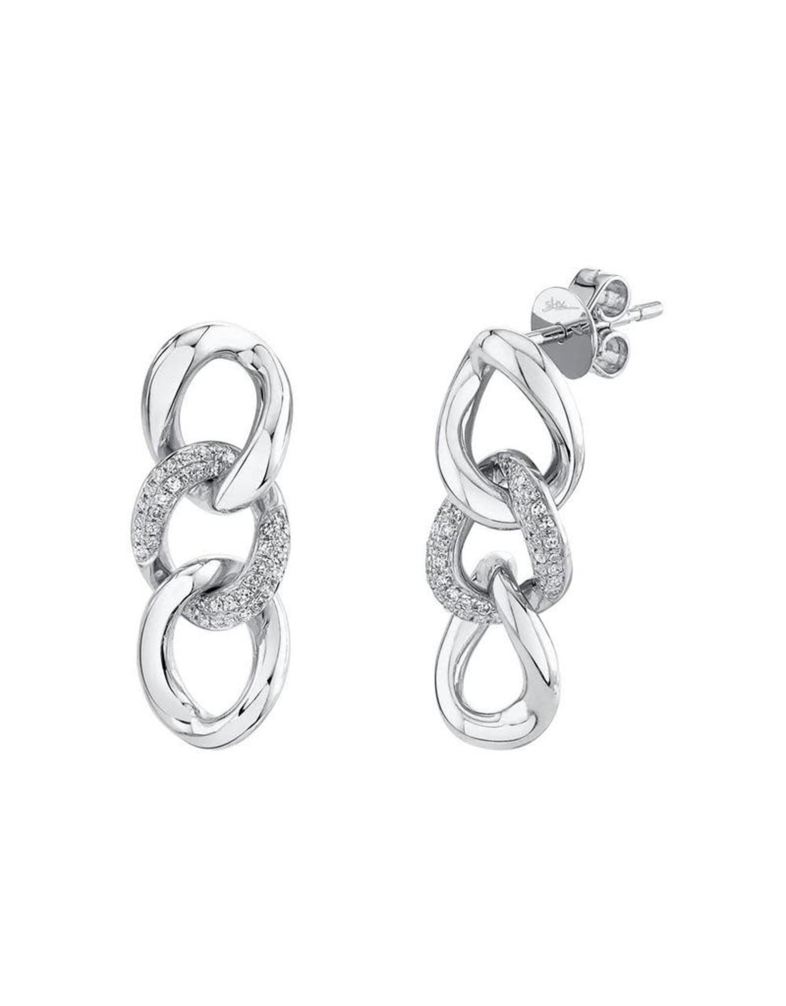 14K White Gold Diamond Curb Link Chain Earrings, D: 0.18ct