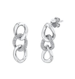 14K W/G Diamond Curb Link Chain Earrings