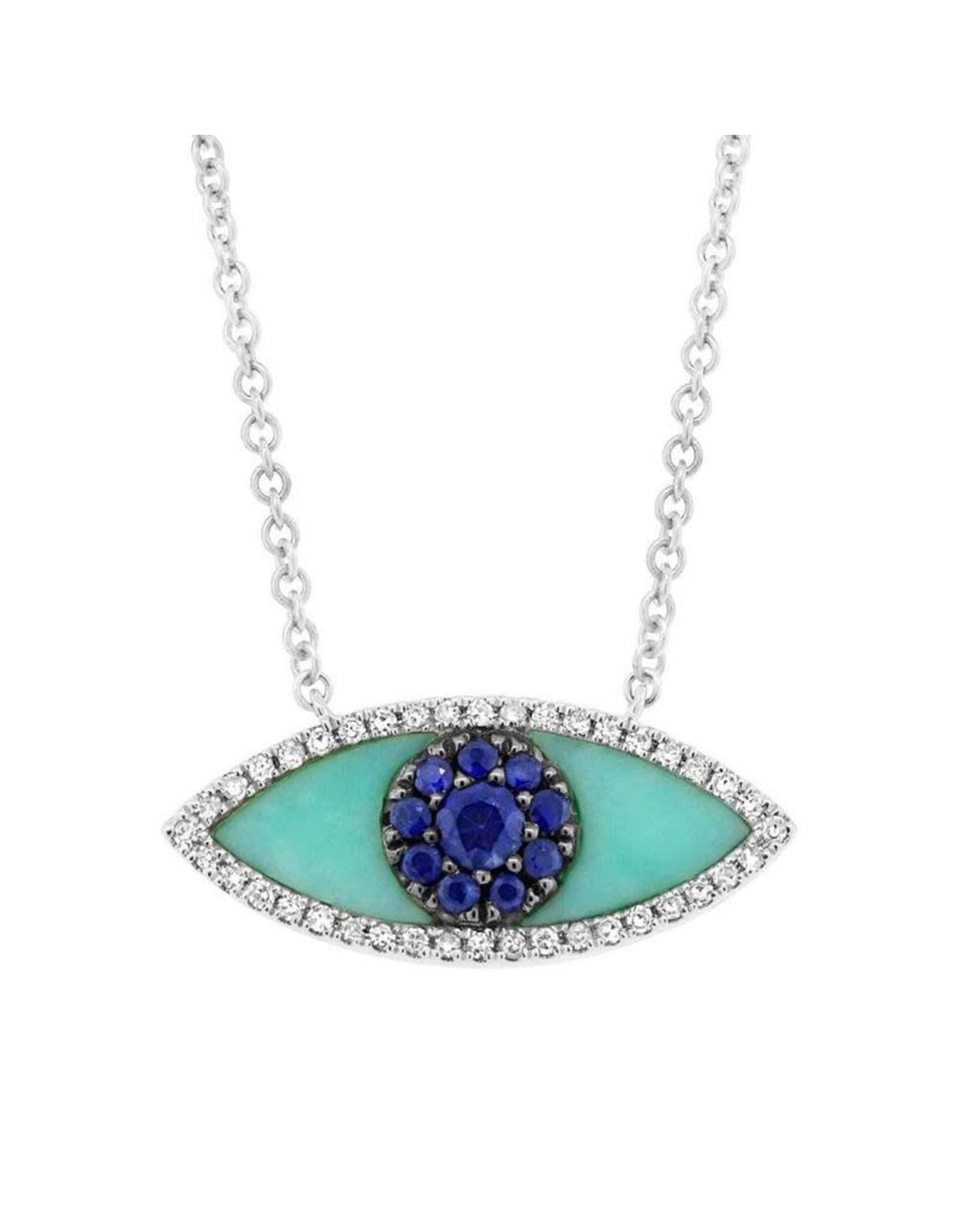 14K White Gold Turquoise, Blue Sapphire and Diamond Evil Eye Necklace,  D: 0.09ct, S: 0.65ct