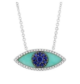 14K W/G Turquoise, Blue Sapphire & Diamond Evil Eye Necklace