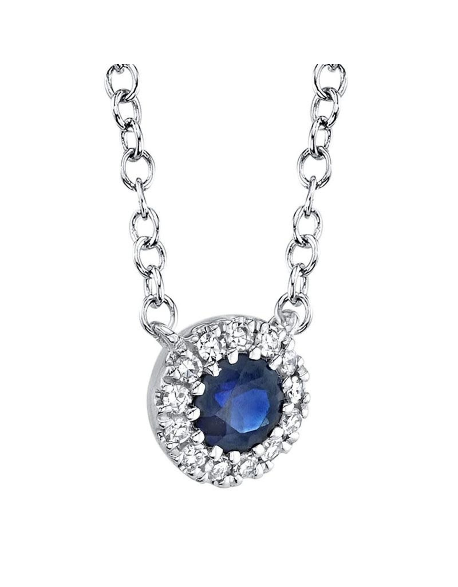 14K White Gold Sapphire and Halo Diamond Necklace, S:  0.14ct, D: 0.04ct