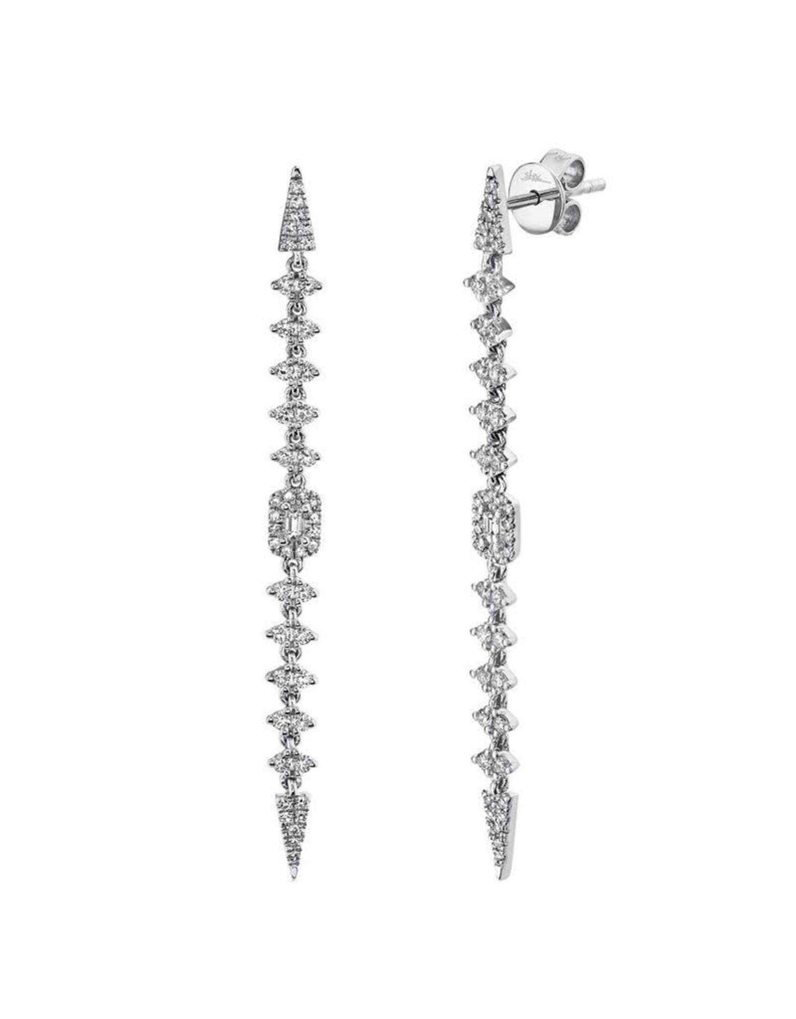 14K White Gold Diamond Baguette Spear Earrings, D: 0.68ct
