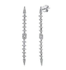 14K W/G Diamond Baguette Spear Earrings