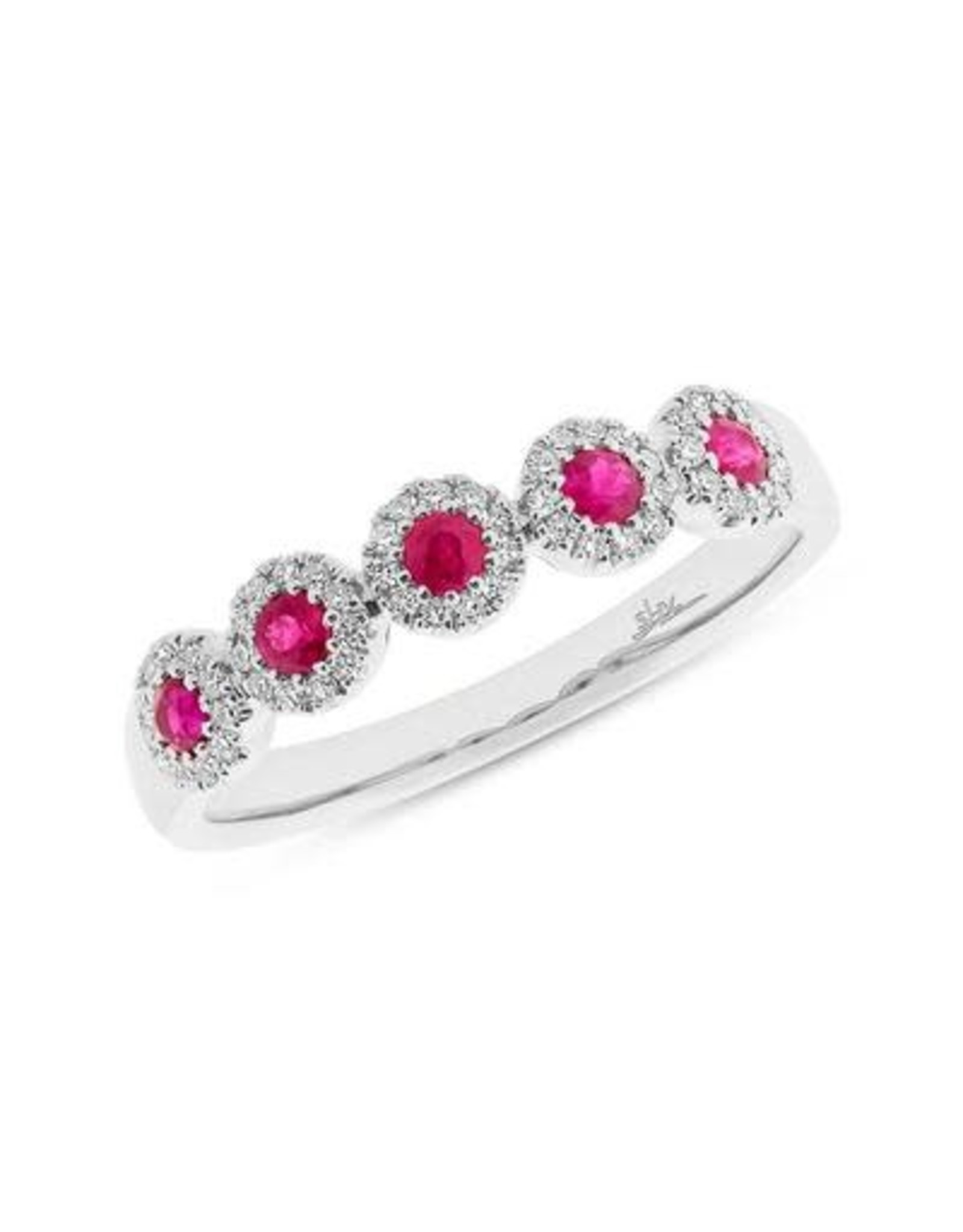 14K White Gold Ruby and Diamond 5-stone Ring, D: 0.16ct, R: 0.31ct