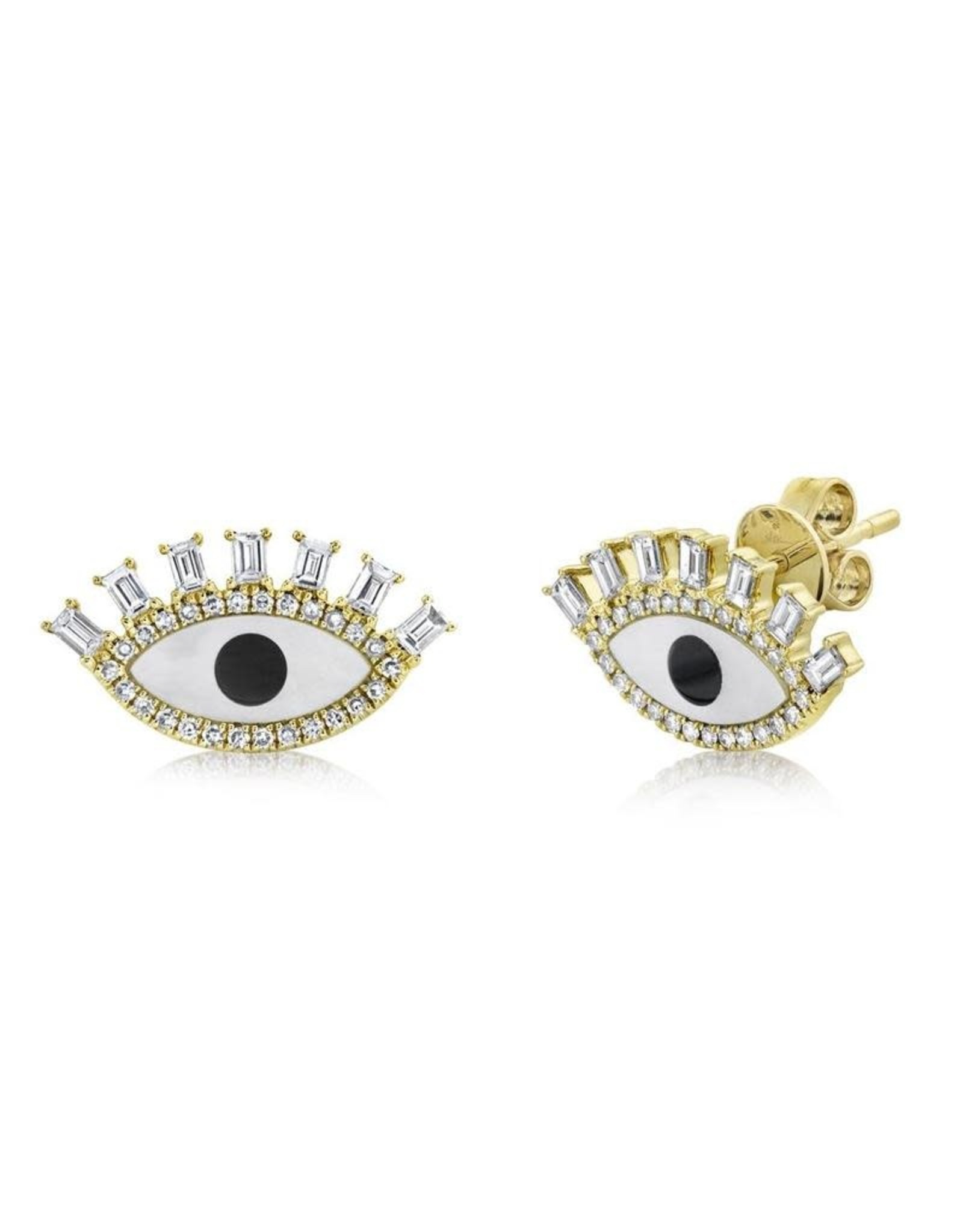 14K Yellow Gold Evil Eye Diamond, Onyx & Mother of Pearl Studs, D: 0.48ct, OX: 0.89ct