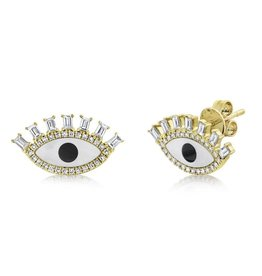14K Y/G Evil Eye Diamond, Onyx & Mother of Pearl Studs