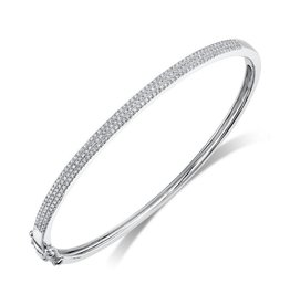 14K W/G Pave Diamond Bangle Bracelet
