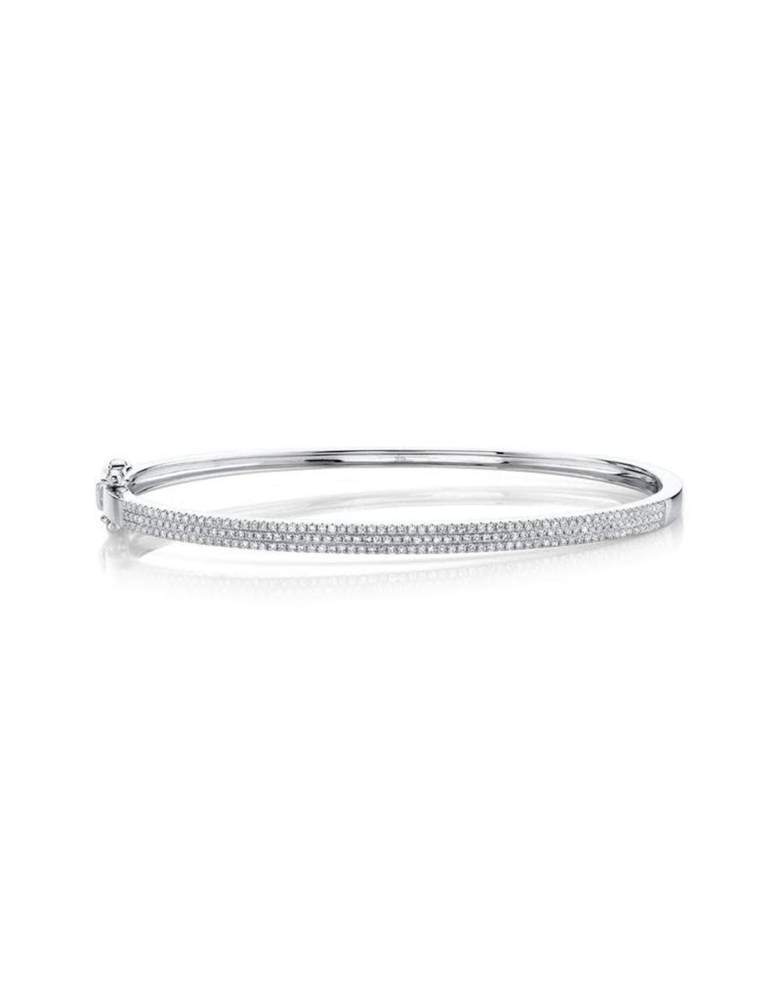14K White Gold Pave Diamond Bangle Bracelet, D: 0.52ct