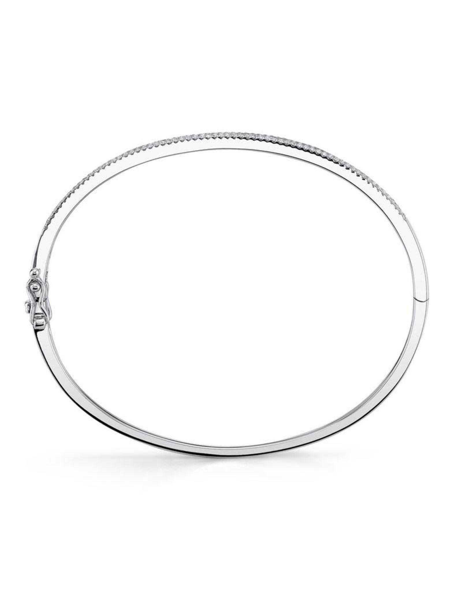 14K W/G Pave Diamond Bangle Bracelet, D: 0.52ct