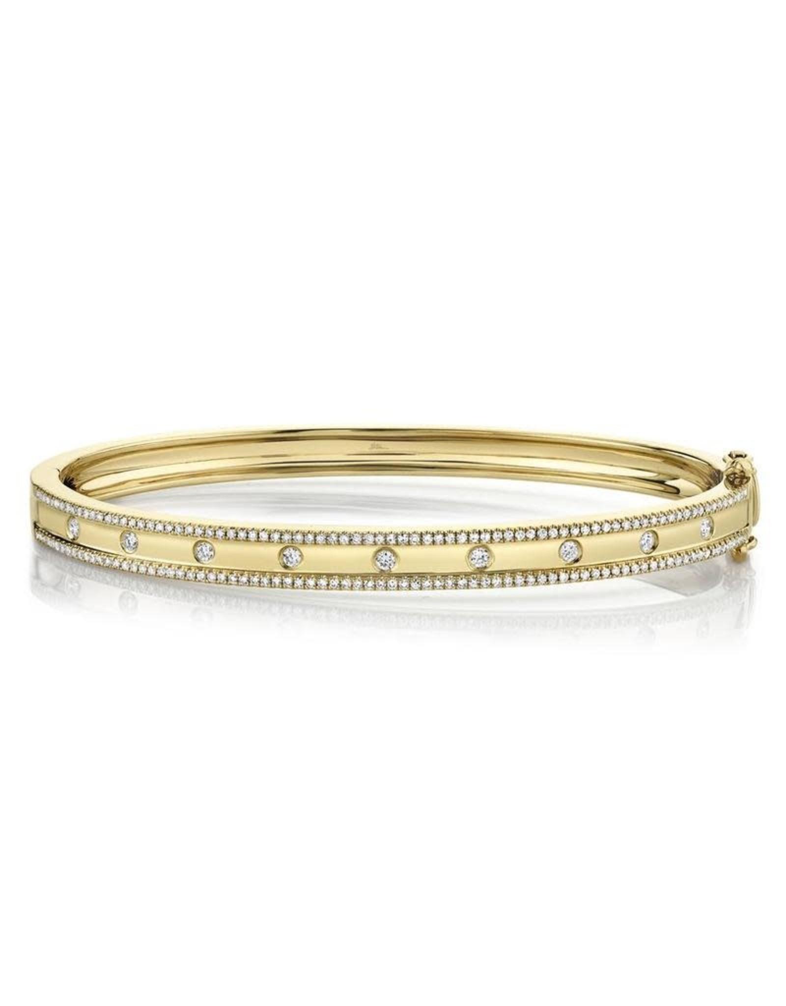 14K Yellow Gold Diamond Bangle Bracelet, D: 0.62ct