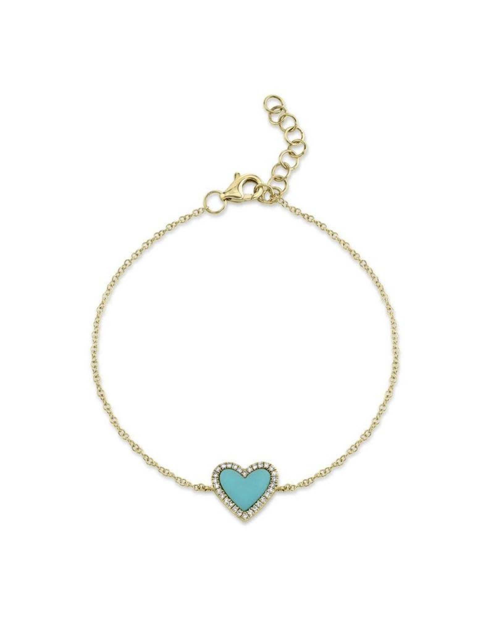 14K Yellow Gold Turquoise and Diamond Heart Bracelet, TQ: 0.06ct, D: 0.09ct