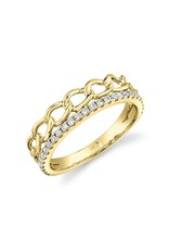 14K Yellow Gold Diamond Double Stackable Link Ring, D: 0.28ct