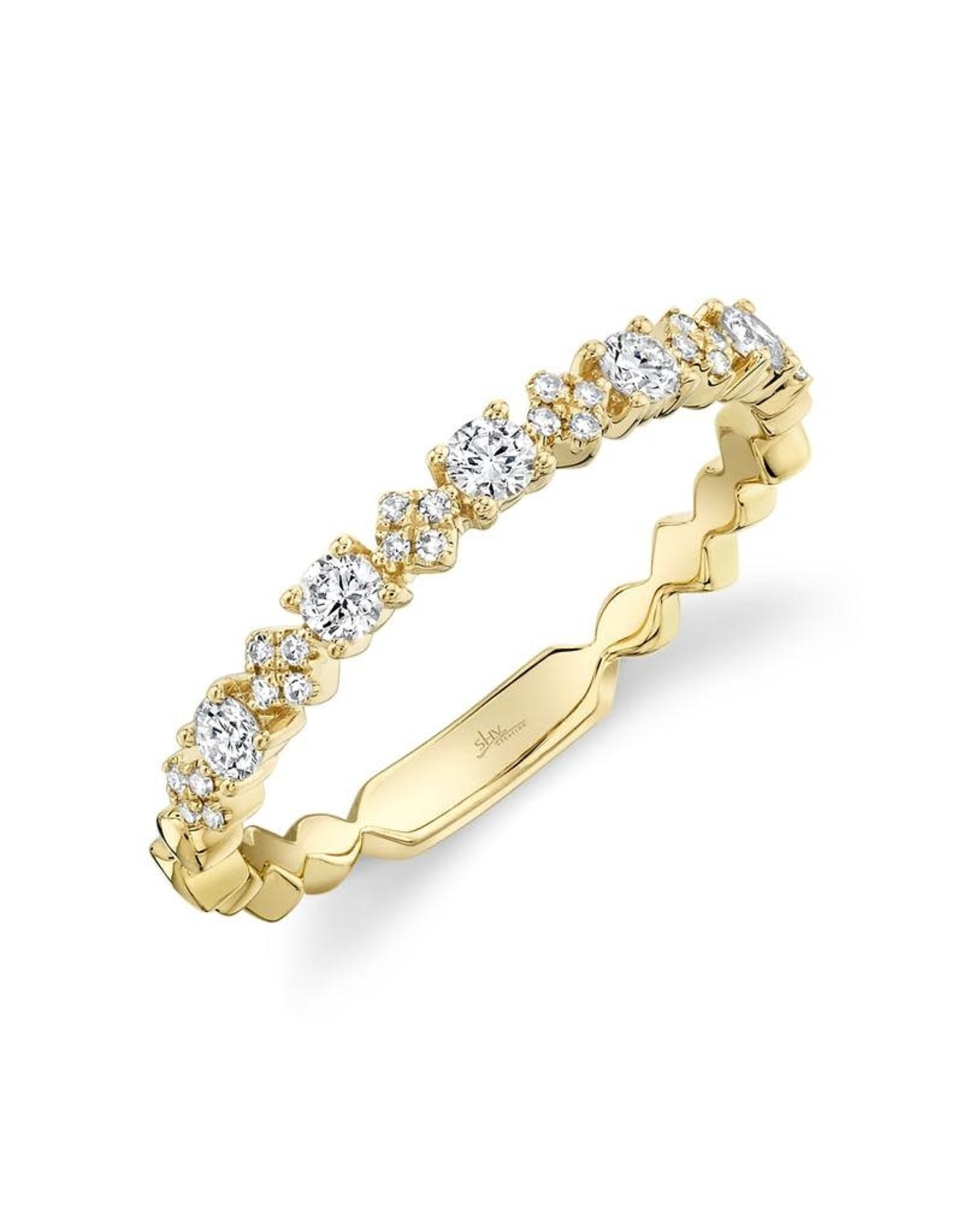14K Yellow Gold Diamond Stackable Ring, D: 0.29ct
