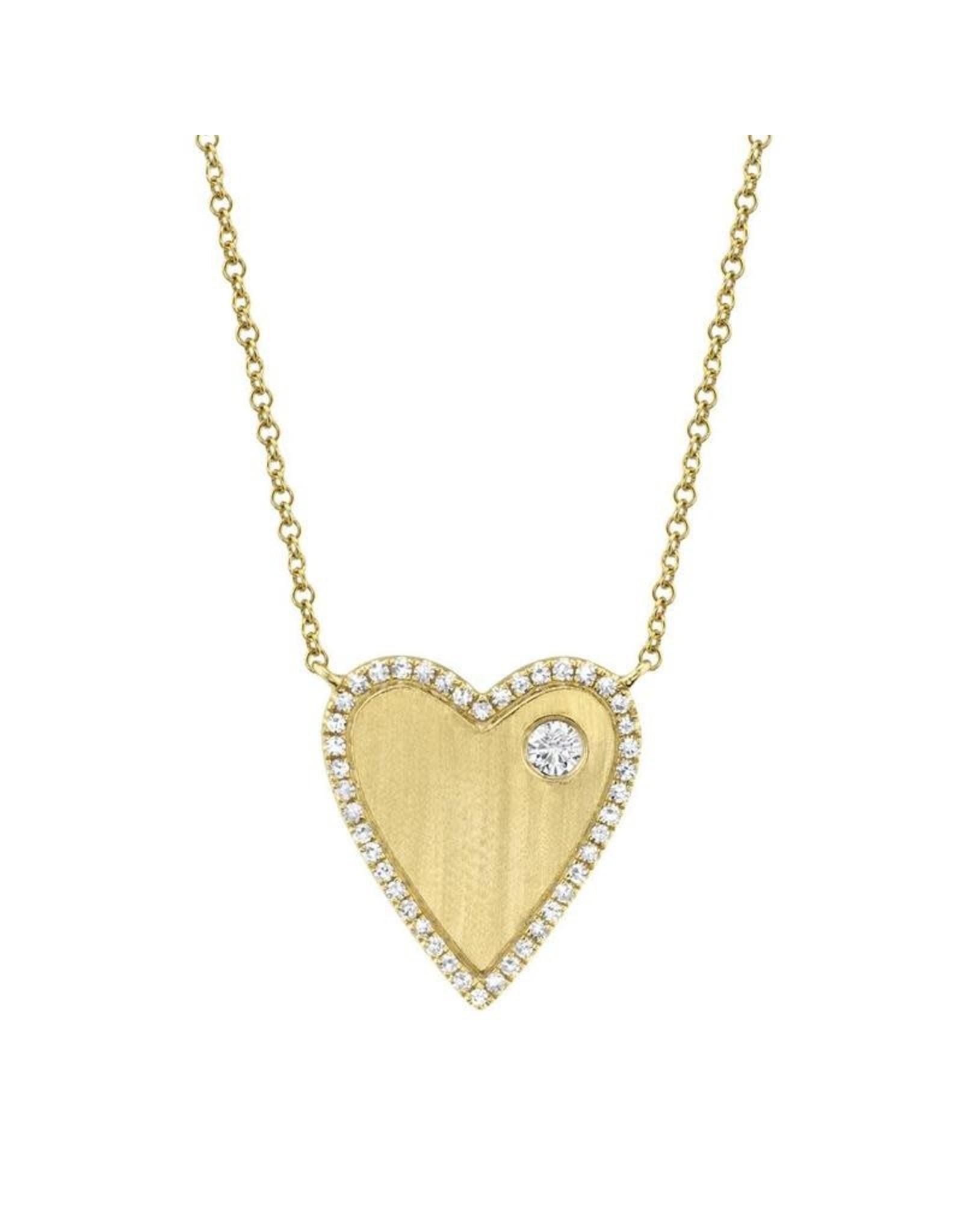 14K Yellow Gold Diamond Matte Heart Necklace, D: 0.16ct
