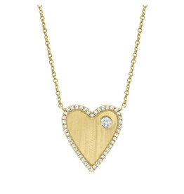 14K Y/G Diamond Matte Heart Necklace