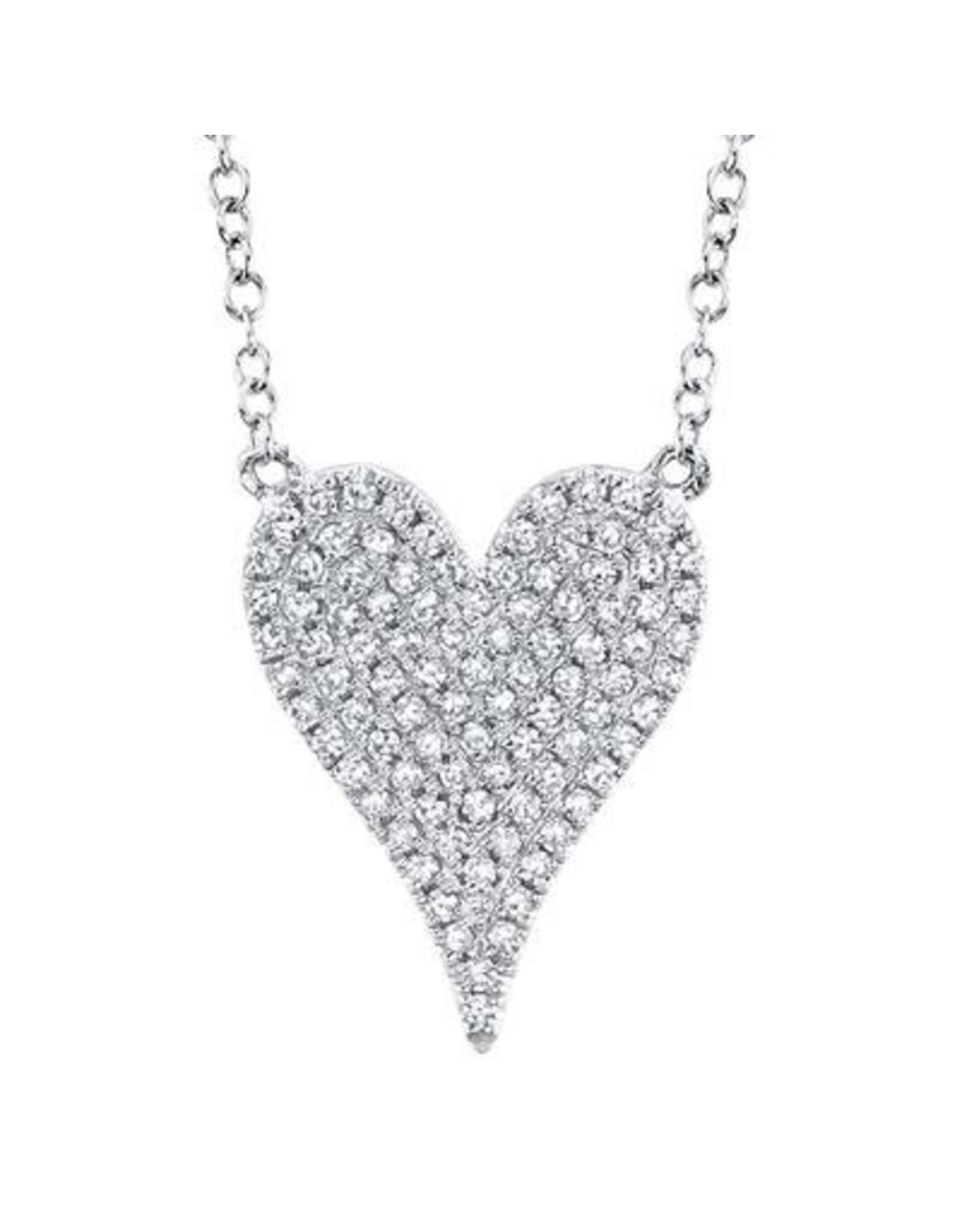 14K White Gold Medium Diamond Heart,  D: 0.21ct