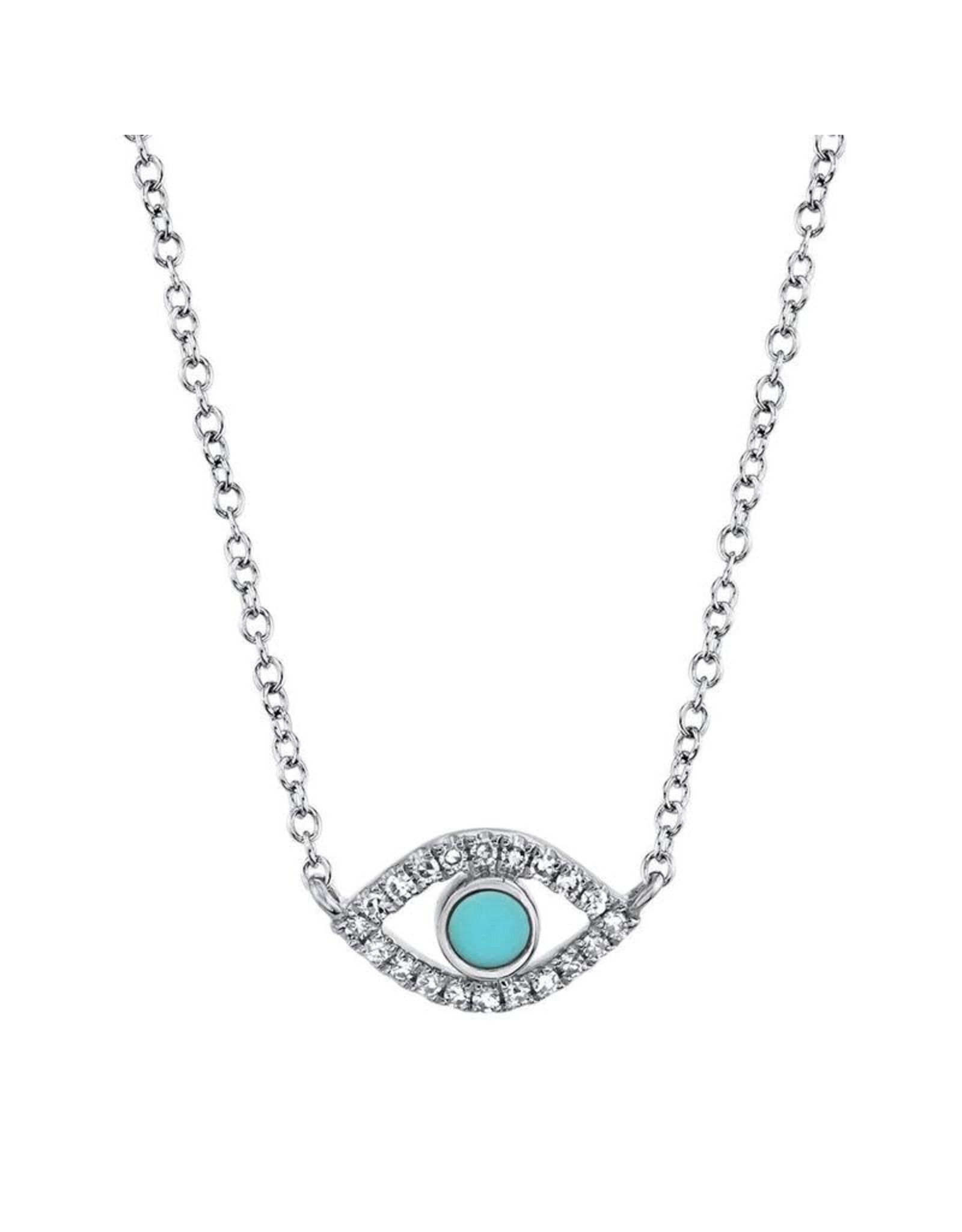 14K White Gold Turquoise and Diamond Evil Eye Necklace, TQ: 0.07ct, D: 0.06ct
