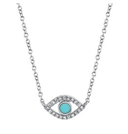 14K W/G Turquoise & Diamond Evil Eye Necklace