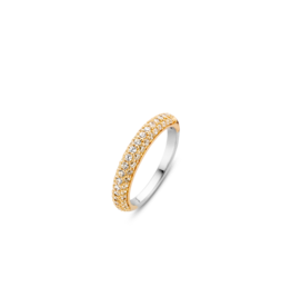 Yellow Gold Plated Pave Zirconia Stackable Ring