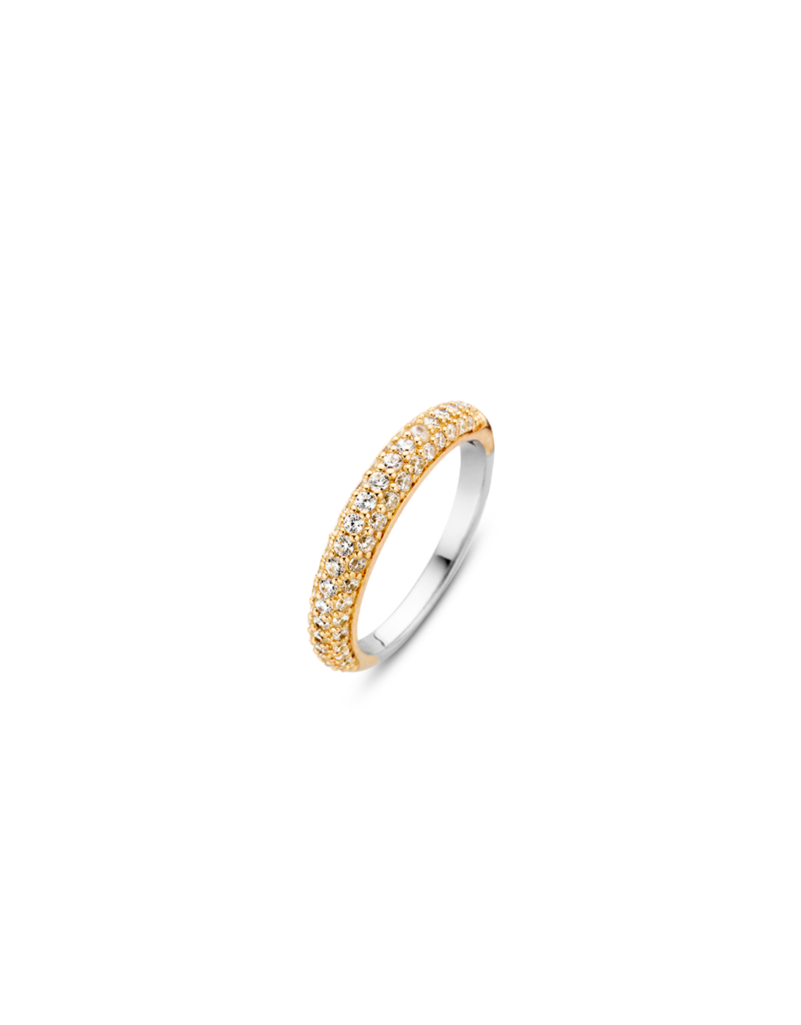 Yellow Gold Plated Pave Zirconia Stackable Ring- 12105