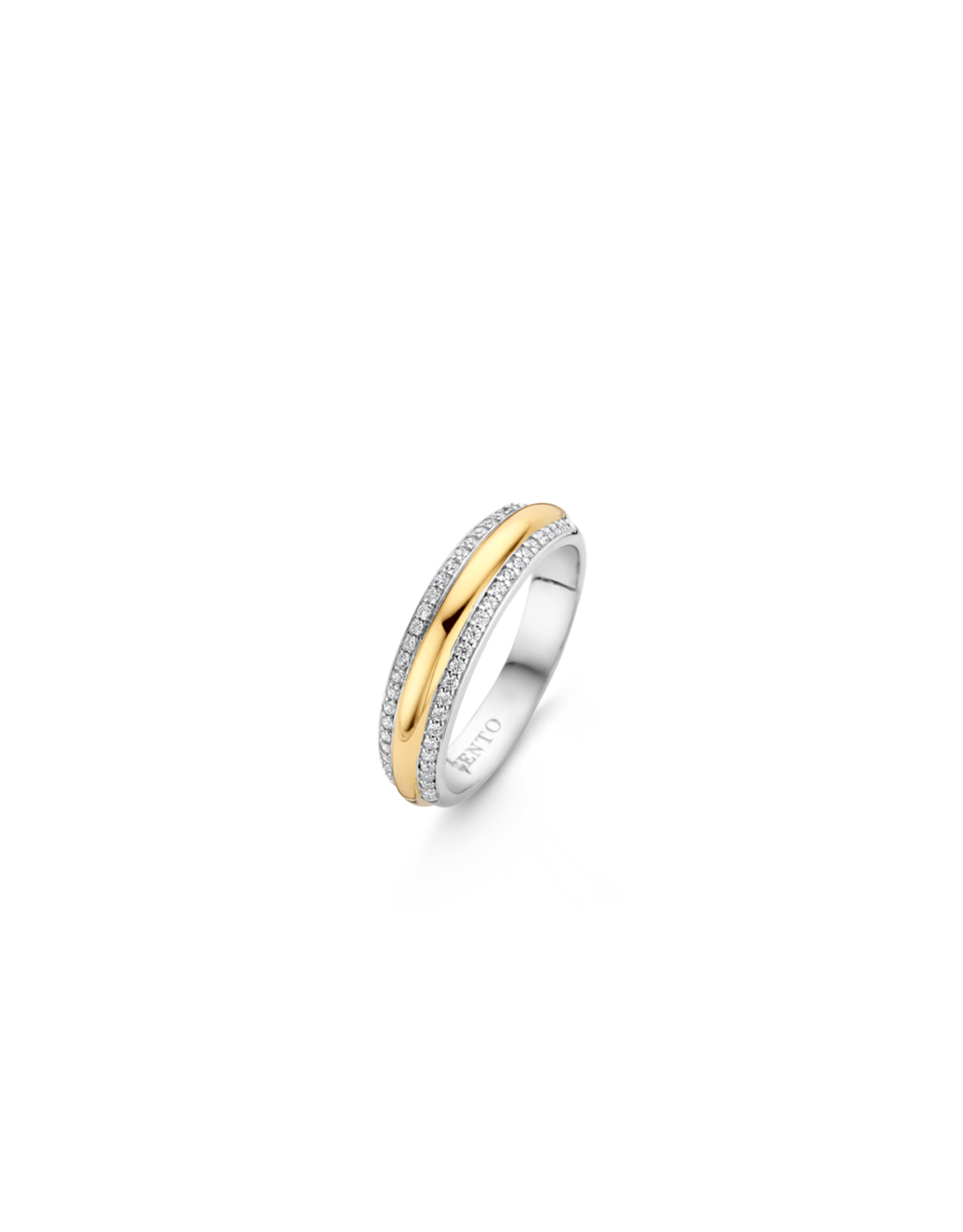 Two tone Stackable Ring with Zirconia- 12144ZY/54