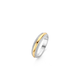 Two tone Stackable Ring with Zirconia