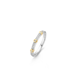 Two tone Stackable Ring with Bezel Set Zirconias