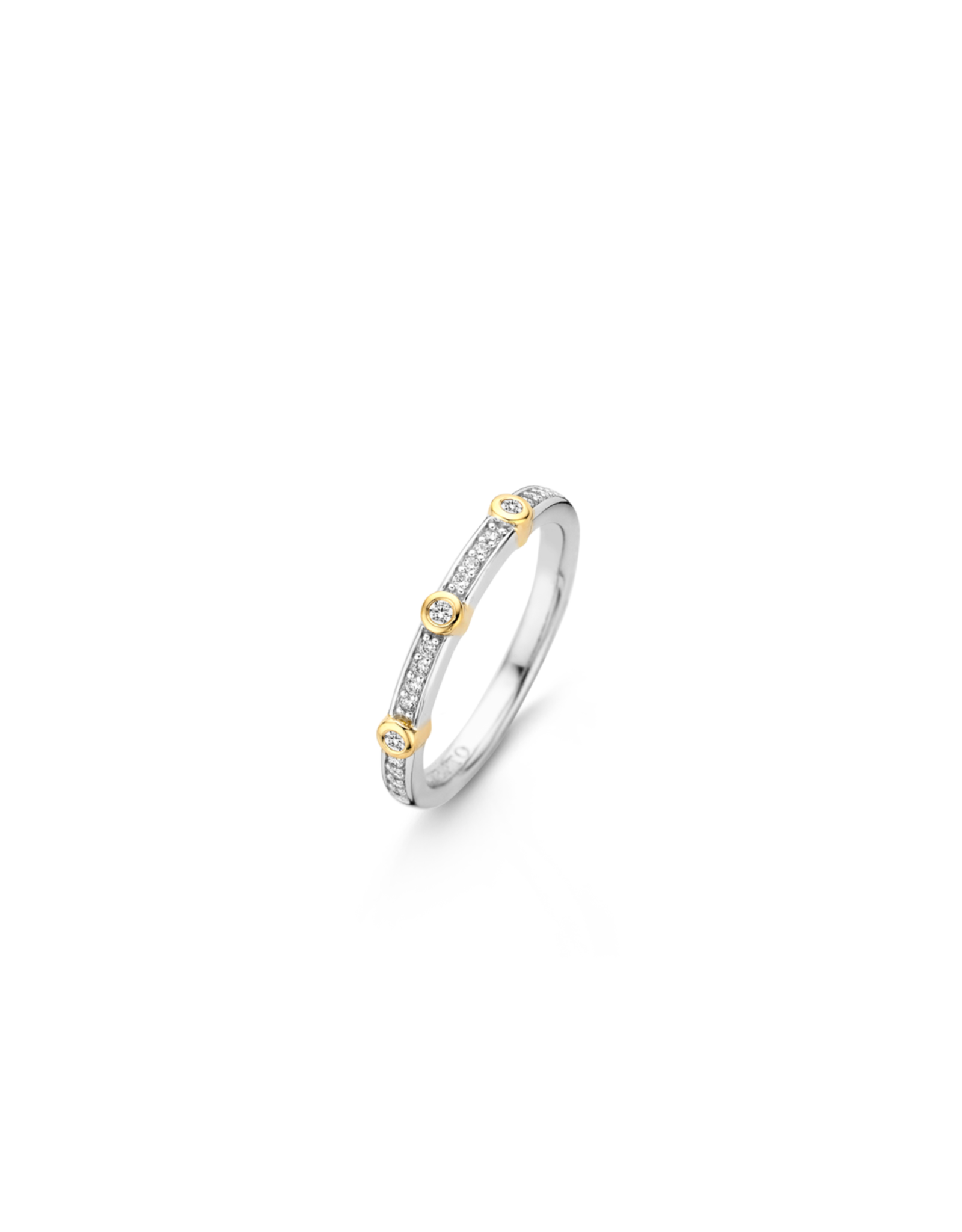 Two tone Stackable Ring with Bezel Set Zirconias- 12149