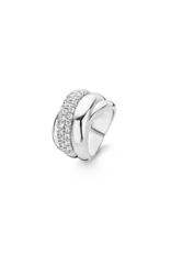 Chunky Silver Crossover Ring with Zirconias-1642ZI/56