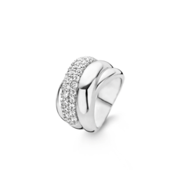 Chunky Silver Crossover Ring with Zirconias