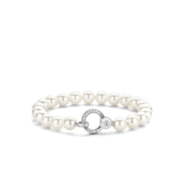 Sterling Silver Pearl Bracelet with Zirconia
