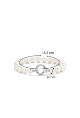 Sterling Silver Pearl Bracelet with Zirconia - 2865PW