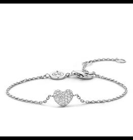 Dainty Sterling Silver Pave Heart Bracelet