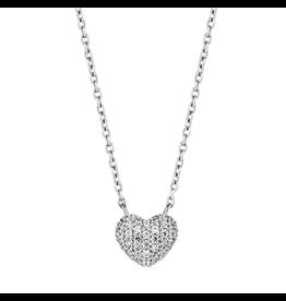 Petite Silver Zirconia Pave Heart Necklace